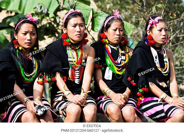 Naga tribal women in traditional outfit, Hornbill Festival, Kohima, Nagaland, India