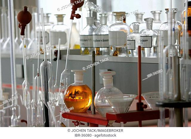 DEU, Germany: Bottles, apparatus, chemical in a chemical laboratory
