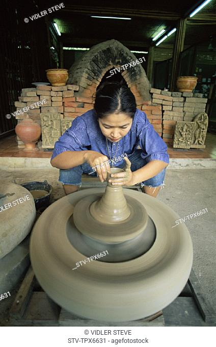 Asia, Bangkok, Holiday, Landmark, Making, Pottery, Rose garden, Thailand, Tourism, Traditional, Travel, Vacation, Woman