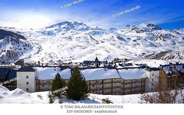 Formigal ski area skyline in Huesca Pyrenees of Spain