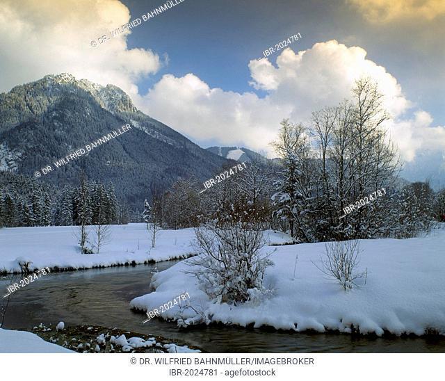 Ettaler Weidmoos, Ettal swamp land in front of Laberjoch Mountain, Upper Bavaria, Bavaria, Germany, Europe