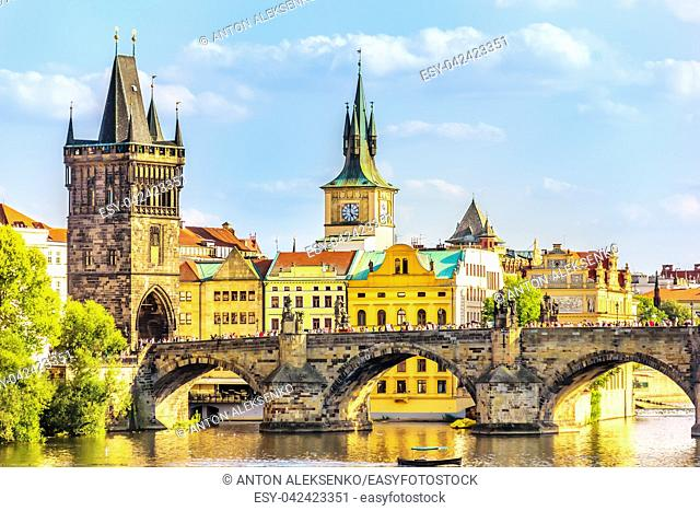 Charles Bridge, Old Town Bridge Tower and the Old Town Hall, Prague
