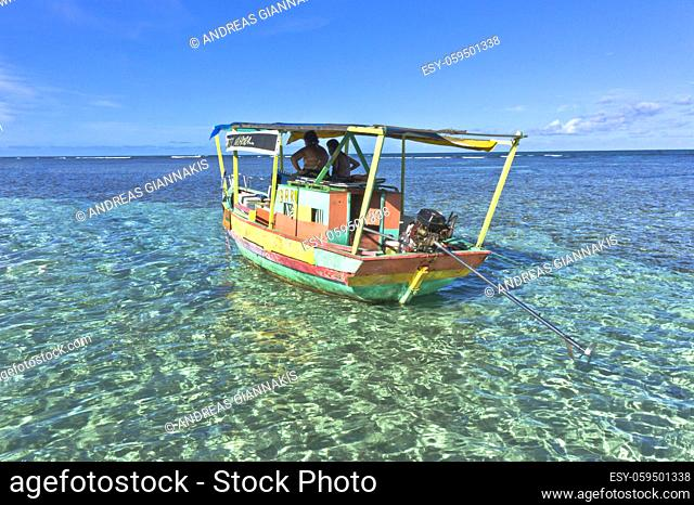 Morro de Sao Paulo, Tourist boat in Boipeba Tropical beach, Bahia, Brazil, South America