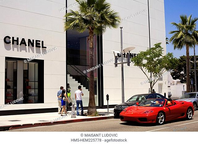 United States, California, Los Angeles, Beverly Hills, Rodeo Drive, Ferrari 360 Modena Spider front of Chanel shop