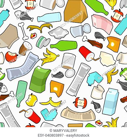 Garbage texture. Rubbish seamless pattern. trash ornament. litter background. peel from banana and stub. Tin and old newspaper. Bone and packaging
