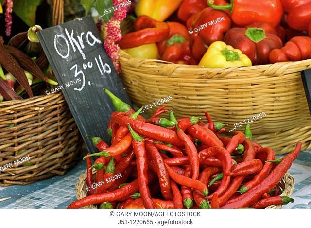 Organic vegetables at farmers market, October 2008, Nevada City, California