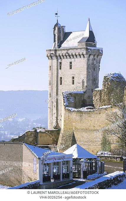 The Clock Tower of the Royal Fortress of Chinon in Winter. Indre-et-Loire, Central Region, Loire Valley, France, Europe