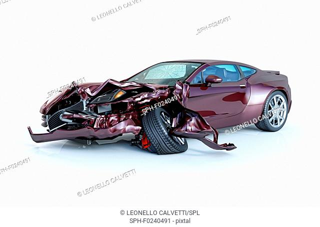 Single car crashed. Purple sport car coupe heavily damaged on the front part. Isolated on white background. Perspective view