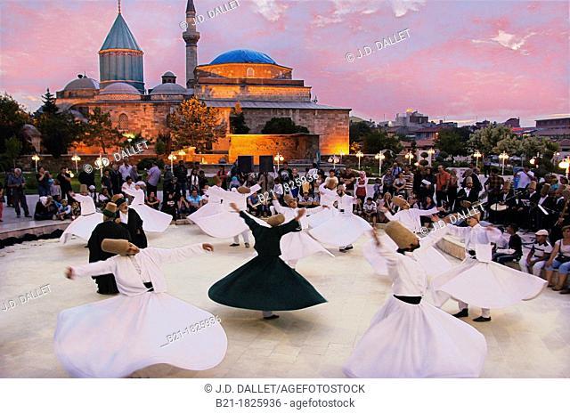 Mystic dance performed within the Sama worship ceremony by the Sufi Dervishes, Konya, Anatolia, Turkey
