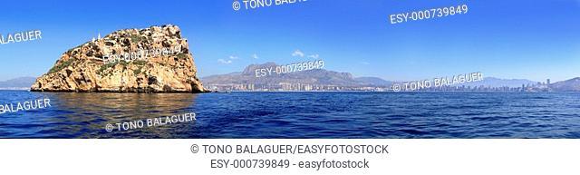 Benidorm panoramic view from island Mediterranean sea Alicante province Spain