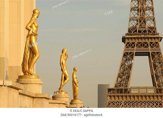 France - Ile-de-France - Paris. Place du Trocadéro. UNESCO World Heritage List, 1991. Eiffel Tower. Designer Gustave Eiffel, 1889
