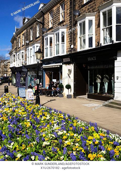 Flowers along Montpellier Parade on a sunny spring day Montpellier Quarter Harrogate North Yorkshire England