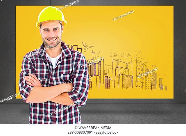 Composite image of handome male repairman standing arms crossed