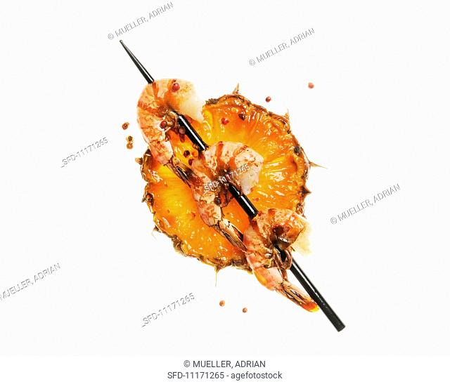 Pineapple and Shrimp Skewer on a White Background