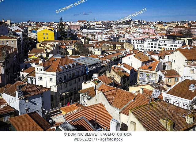 A view of Alfama rooftops just after dawn in Lisbon, Portugal