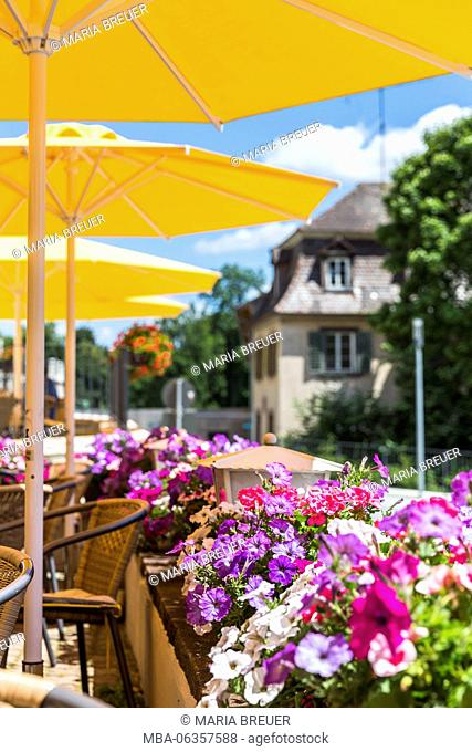 Sunshades and petunias, Cafe 'Reiter', centre of Donaueschingen, Black Forest, Baden-Wurttemberg, Germany, Europe