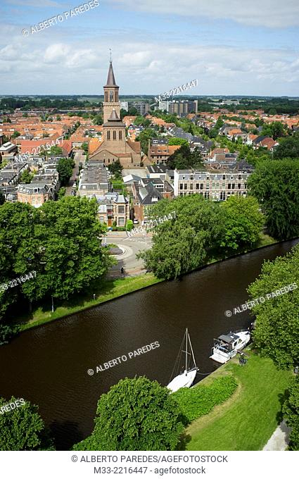View from Oldehove leaning tower, Leeuwarden, Friesland province (Fryslan), Netherlands