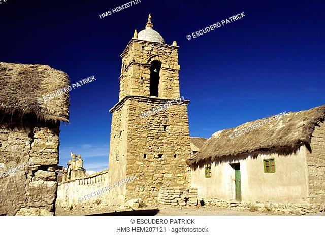 Bolivia, Oruro department, Sajama province, Sajama National Park, Sajama, colonial church 16th century