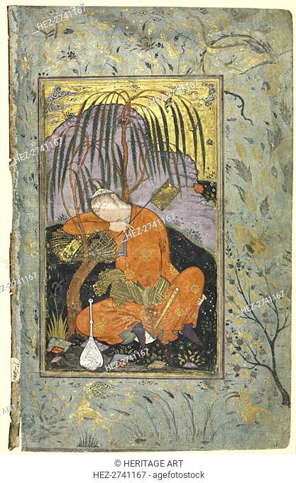 Sleeping Youth (verso), Illustration from a Single Page Manuscript, early 1600s. Creator: Riza-yi Abbasi (Iranian), style of