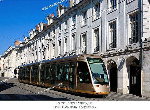 France, Loiret, Orleans, tramway on Rue Royale