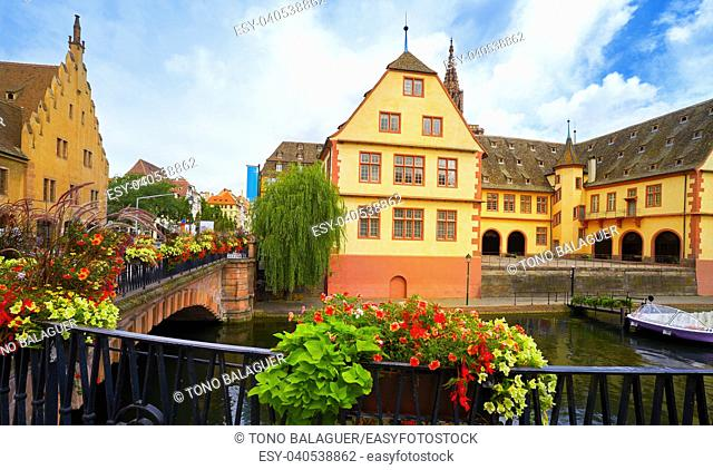Strasbourg city facades bridge and river in Alsace France