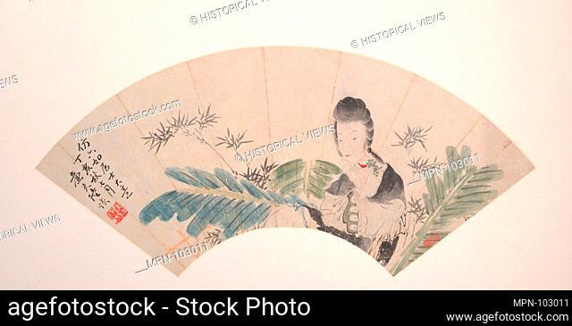 近代 陸恢 美人 扇面/A Beauty. Artist: Lu Hui (Chinese, 1851-1920); Period: Qing dynasty (1644-1911); Date: dated 1887; Culture: China; Medium: Folding...