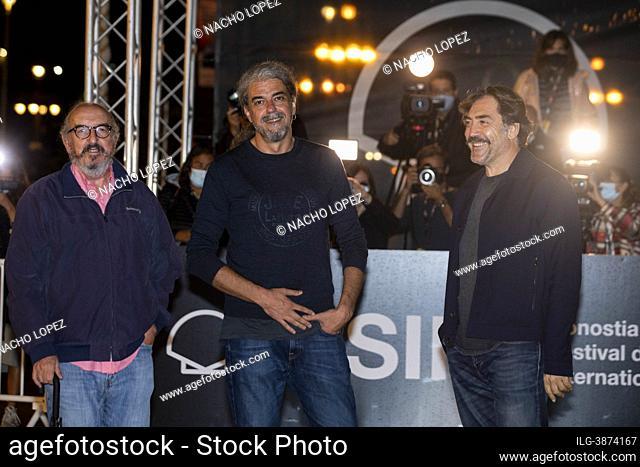 Javier Bardem, Fernando Leon de Aranoa and Jaume Roures is seen at the Maria Cristina Hotel during the 69th San Sebastian International Film Festival September...