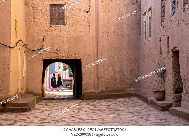 Ksar Elkhorbat, Morocco. Looking through Exit Gate of the Casbah into the Street Beyond