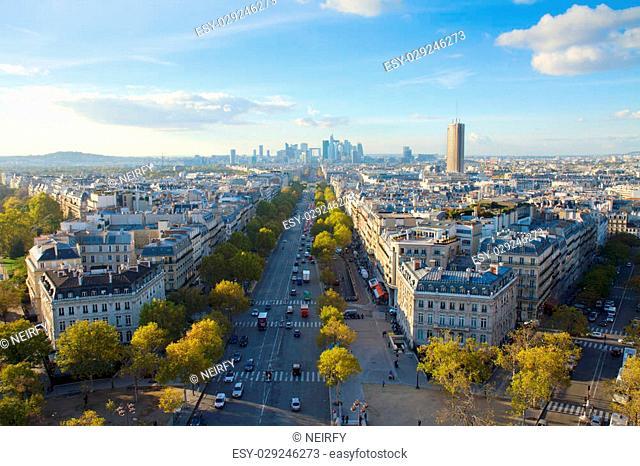skyline of Paris city place de l'Étoile towards La Defense district, France