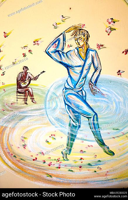 Naively dreamy mural young man turns in the dance, in Finikounda, Missinia, Greece