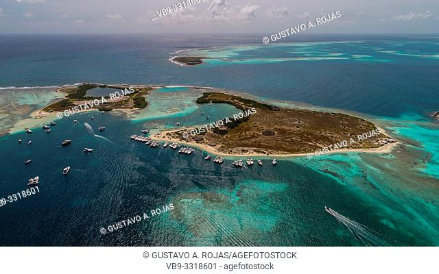 Aerial view Francisky Island with Coral reef and Turquoise Water in los Roques Venezuela