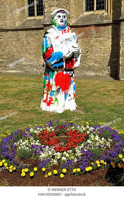 Muenster, Westfalen, Muensterland, Nordrhein-Westfalen, NRW, Lutherjahr 2017, 500 Jahre Reformation, Luther-Figur an der Apostelkirche bunt bemalt