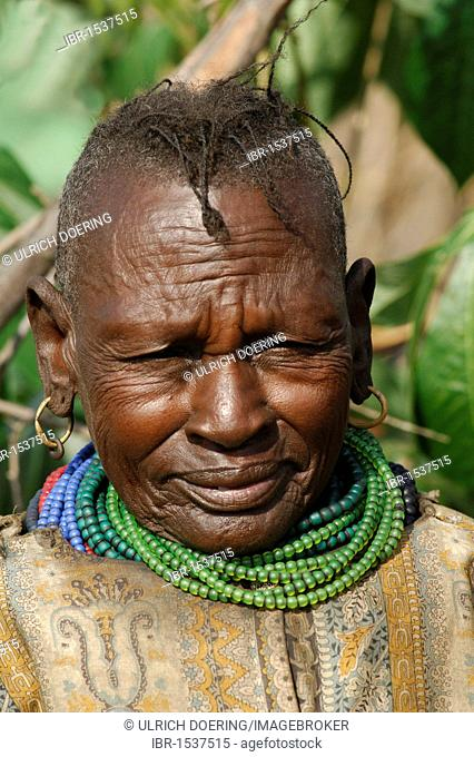 Turkana woman, fled from southern Sudan, living in a refugee camp in Lokichoggio, Kenya, Africa