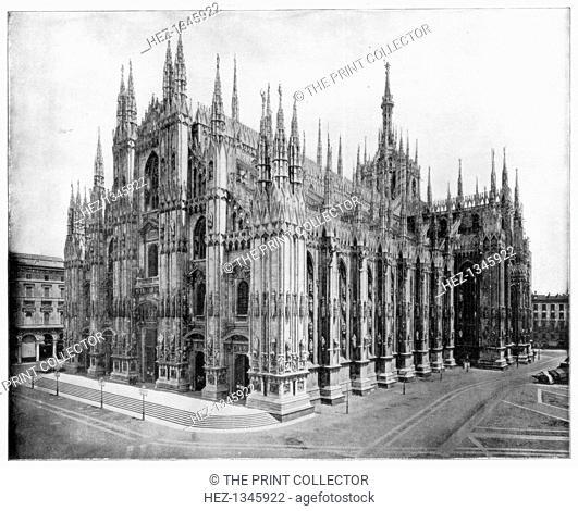 Milan Cathedral, Italy, late 19th century. Photograph from Portfolio of Photographs, of Famous Scenes, Cities and Paintings by John L Stoddard