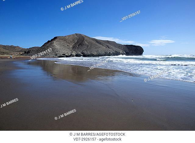 Cala or Playa de La Media Luna. Cabo de Gata-Nijar Natural Park, Almeria province, Andalucia, Spain.
