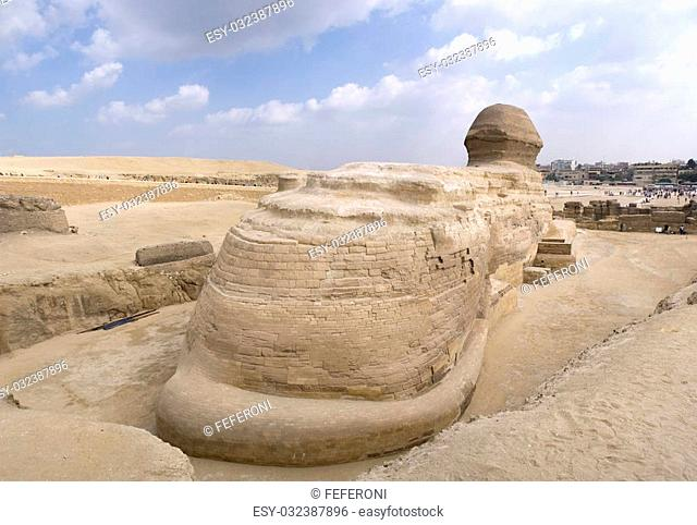 The Sphinx guarding the pyramids on the Giza plateu in Cairo, egypt