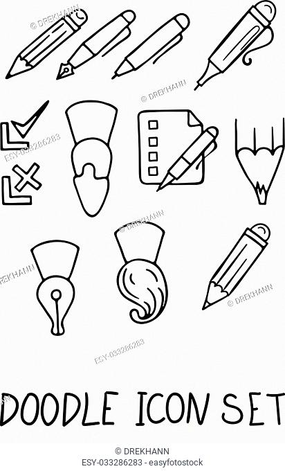 Set of Universal Doodle Icons. Variety of Topics. Stationery