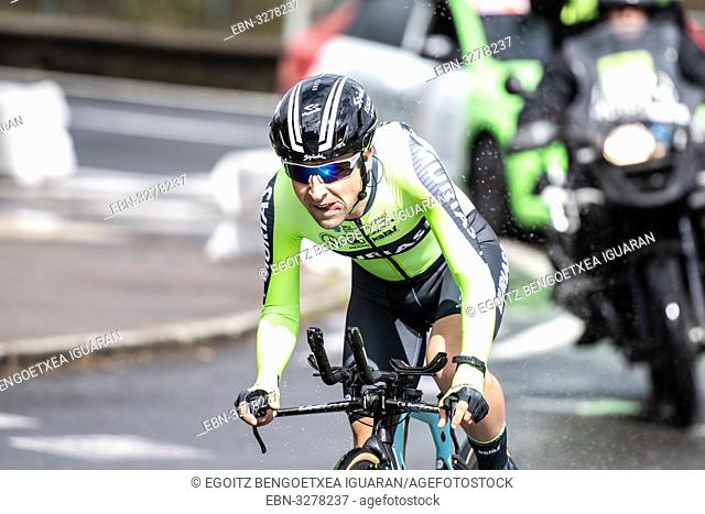 Mikel Bizkarra Etxegibel at Zumarraga, at the first stage of Itzulia, Basque Country Tour. Cycling Time Trial race