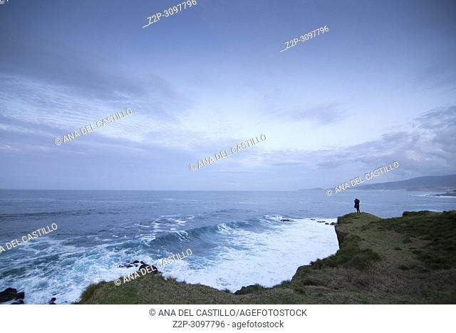Seascape by twilight North of Sao Miguel island Azores Portugal