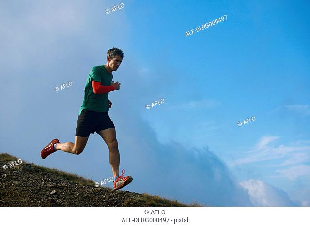 Caucasian man running at Mount Daibosatsu, Yamanashi Prefecture, Japan