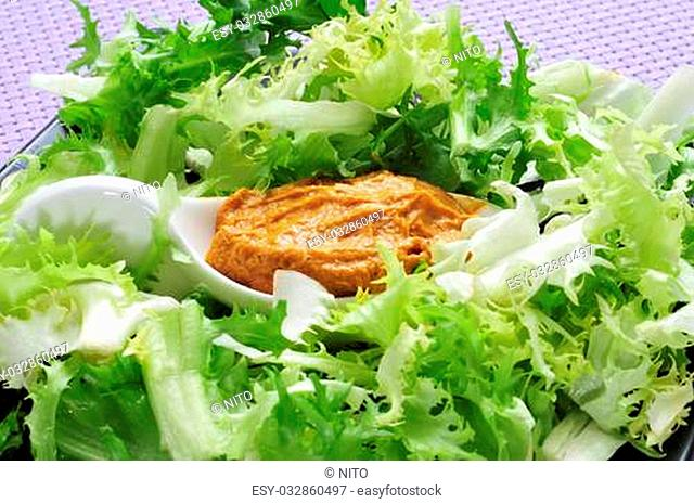 escarole endive with romesco sauce, a typical salad from Catalonia, Spain