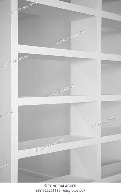 bookshelf in white empty blank shelfs