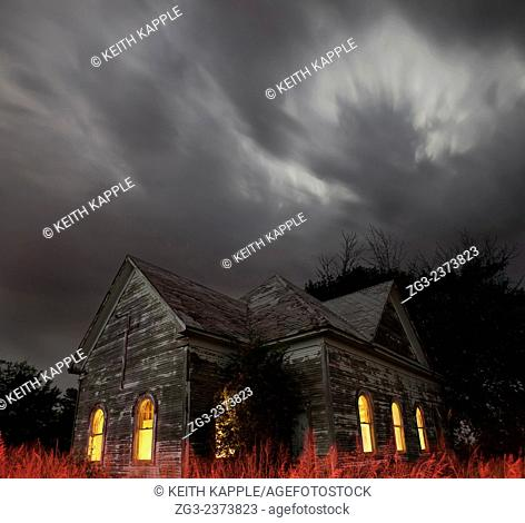 Stormy night sky at an Abandoned Church near Walters, Oklahoma