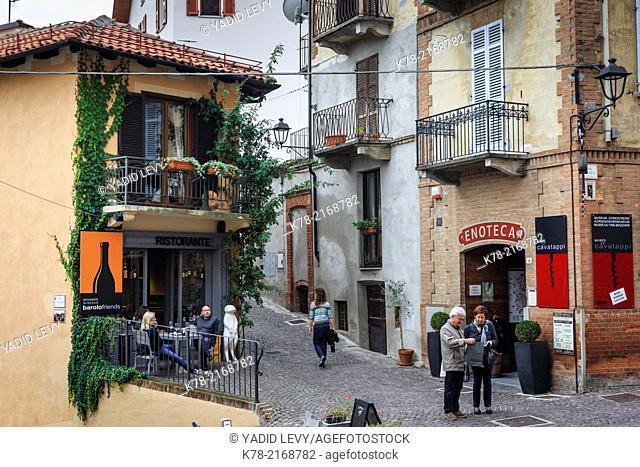 Street scene in Barolo village, Langhe, Cuneo district, Piedmont, Italy