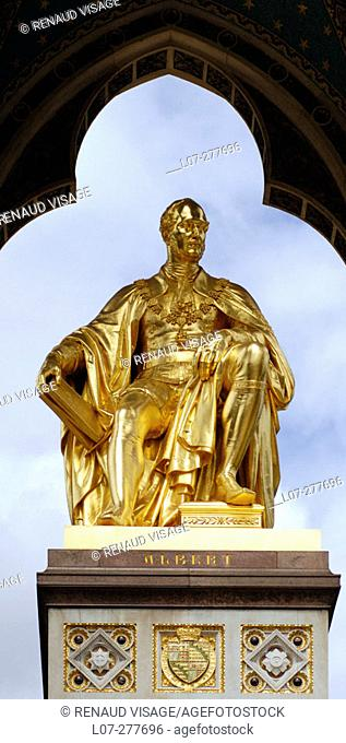 Prince Albert Memorial by Sir George Gilbert Scott. Kensington Gardens, London. England