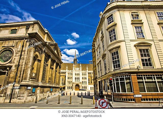 On background The Guildhall building, City of London, London, England, UK, United Kingdom, Europe