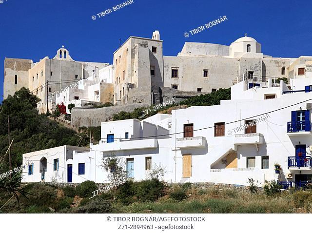 Greece, Cyclades, Naxos, Hora, Kastro, skyline,