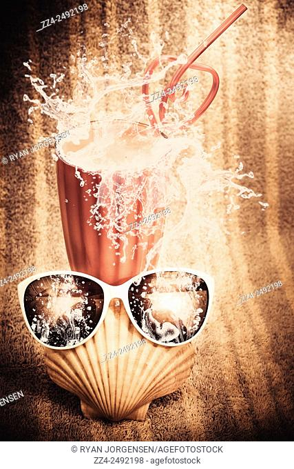 Vintage pop art of a splashing milk bar beverage on a beach towel with sunglasses and seashells. Beach milkshake with a strawberry splash
