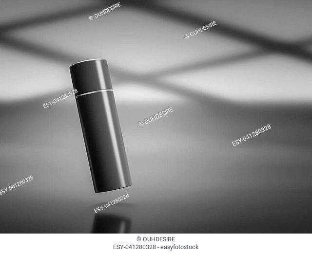 Cosmetic mockup of black plastic tube. 3d rendering
