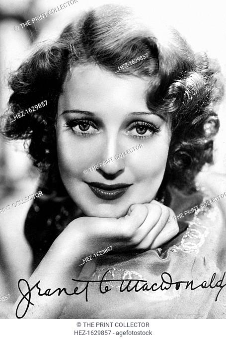 Jeanette MacDonald (1903-1965), American singer and actress, c1930s-c1940s. Signed photograph. In 1929 Ernst Lubitsch saw MacDonald and cast her opposite...